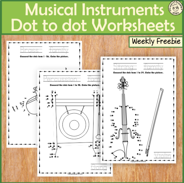 Musical Instruments Dot to dot Worksheets {Weekly Freebies}