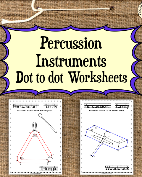 This file (in PDF form) contains 13 Percussion Instruments dot to dots worksheets.
