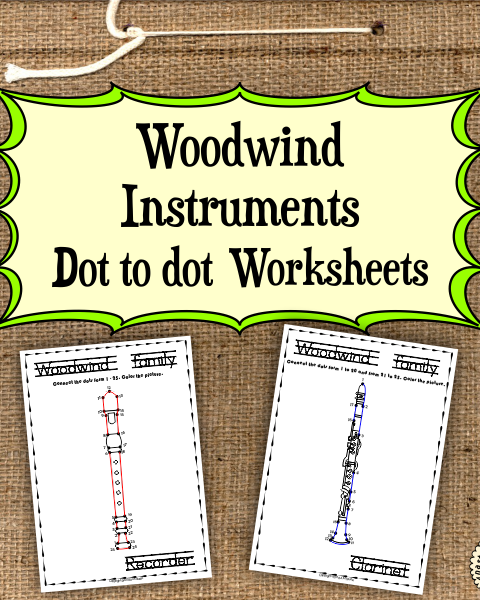 This file (in PDF form) contains 15  Woodwind Instruments dot to dots worksheets.