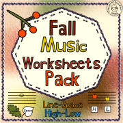 Fall Music Worksheets Pack {Line -Space, High -Low}