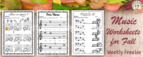 Music Worksheets for Fall {Weekly Freebies}