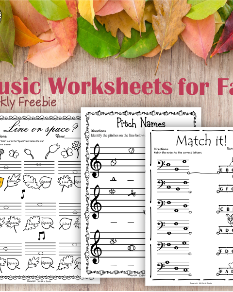 This freebie contains 3 Fall/Autumn themed Music Worksheets for Kids.