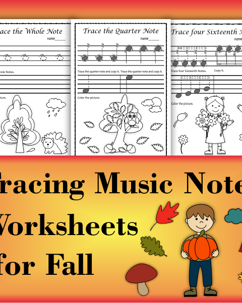 A set of 20 fall/autumn themed music worksheets is created to help your students learn to trace, copy, color and draw symbols, notes and rests commonly used in music. Practice in copying them onto their positions on the staff is provided in large size.