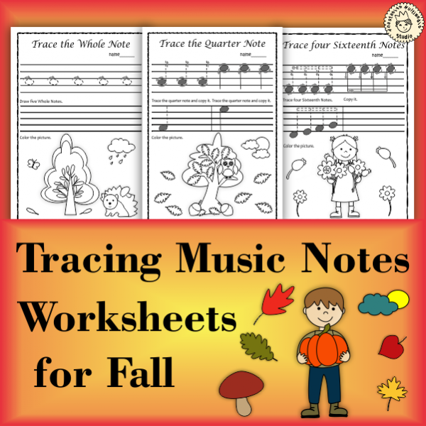 Tracing Music Notes Worksheets for Fall
