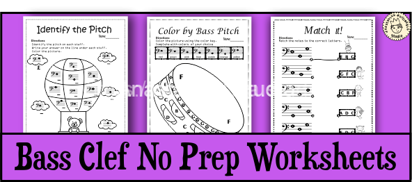 Bass Clef No Prep Worksheets