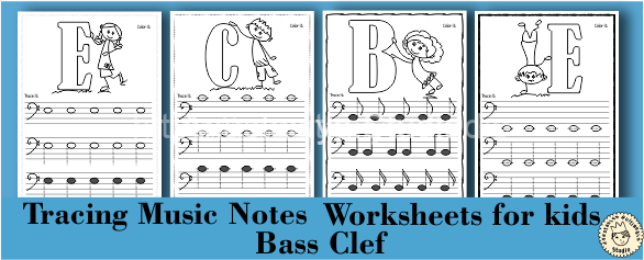 Tracing Music Notes Worksheets for kids {Bass Clef}
