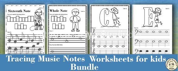 Tracing Music Notes Worksheets for kids {Bundle}