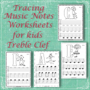 Tracing Music Notes Worksheets for kids {Treble Clef} cover