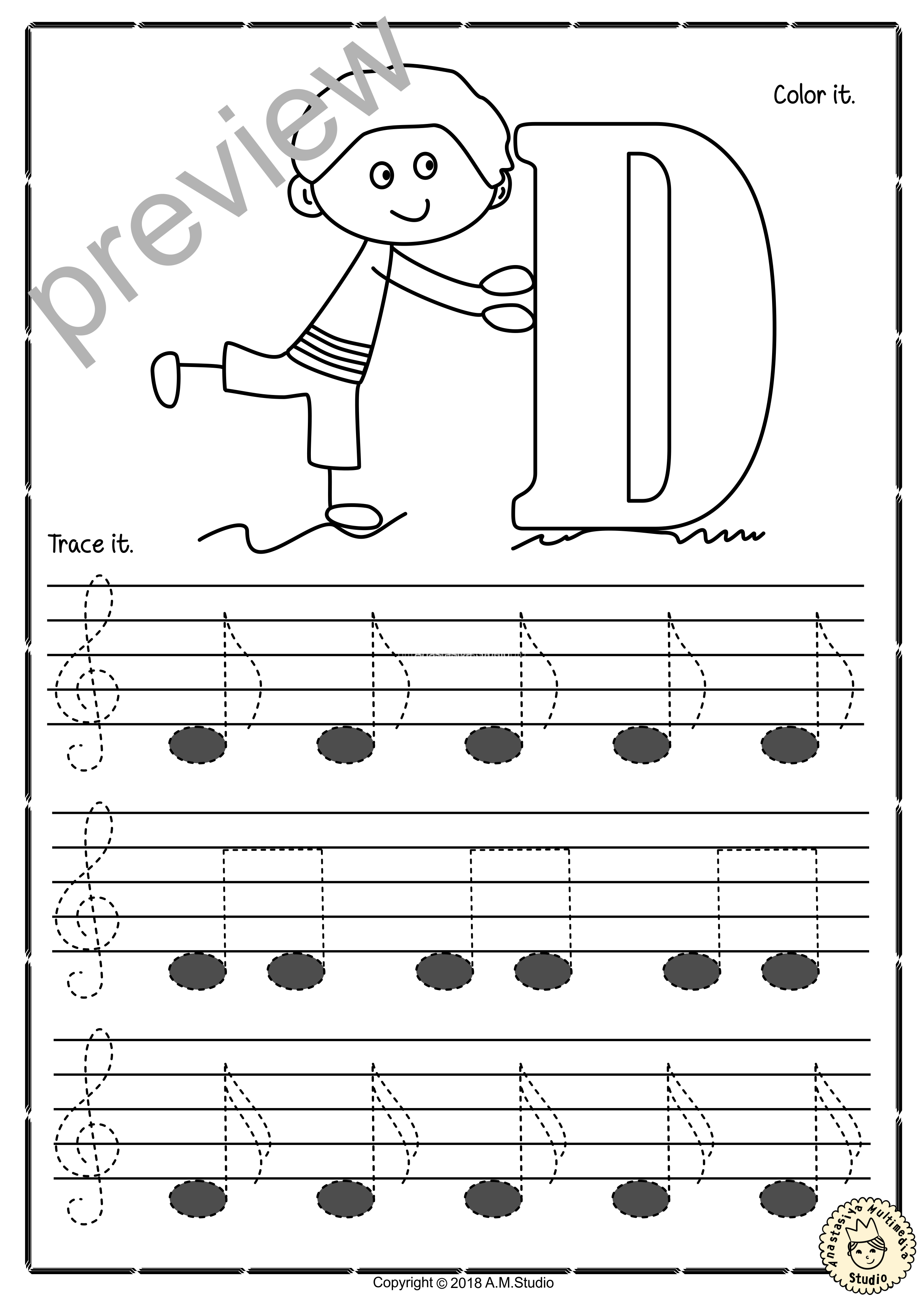Tracing Music Notes Worksheets for kids {Treble Clef}5 ...