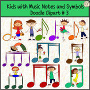 Kids with Music Notes and Symbols Doodle Clipart #3