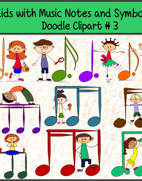 Kids with Music Notes and Symbols Doodle Clipart #3 set contains: ~10.png color images. ~10 .png black and white images. ~10 .jpeg color images. ~10 .jpeg black and white images.  All Images are high quality graphics (300 dpi.) and can be for Personal and/or Commercial use.