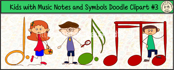 Kids with Music Notes and Symbols Doodle Clipart #3 for site