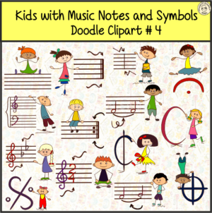 Kids with Music Notes and Symbols Doodle Clipart #4
