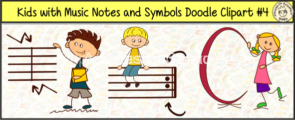 Kids with Music Notes and Symbols Doodle Clipart #4 for site