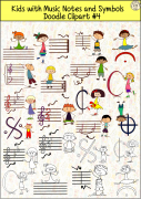 Kids with Music Notes and Symbols Doodle Clipart #