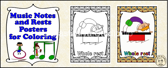 Music Notes and Rests Posters for Coloring set #1