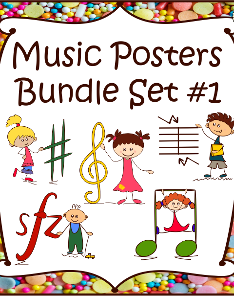 This bundle set includes Music Notes, Rests, Symbols and Dynamics. (63 posters in total):