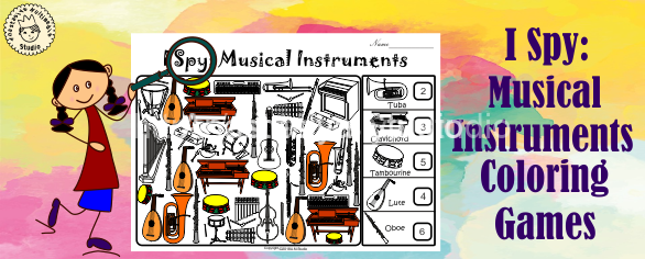 I Spy Musical Instruments Coloring Games cover for site