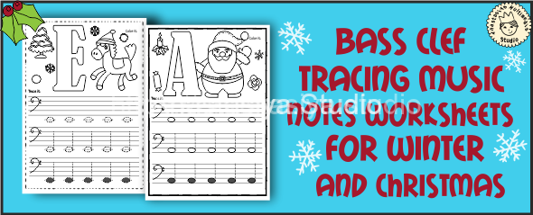 Bass Clef Tracing Music Notes Worksheets for Winter and Christmas cover