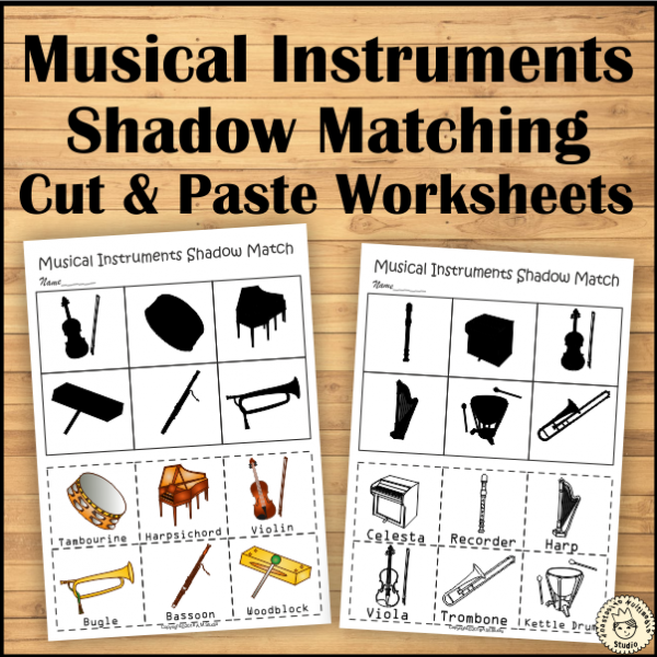 musical instruments shadow matching cut and paste