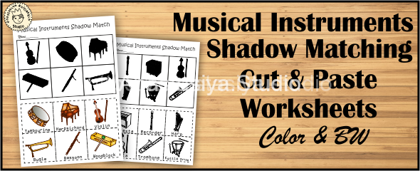 Musical Instruments Shadow Matching Cut and Paste Worksheets