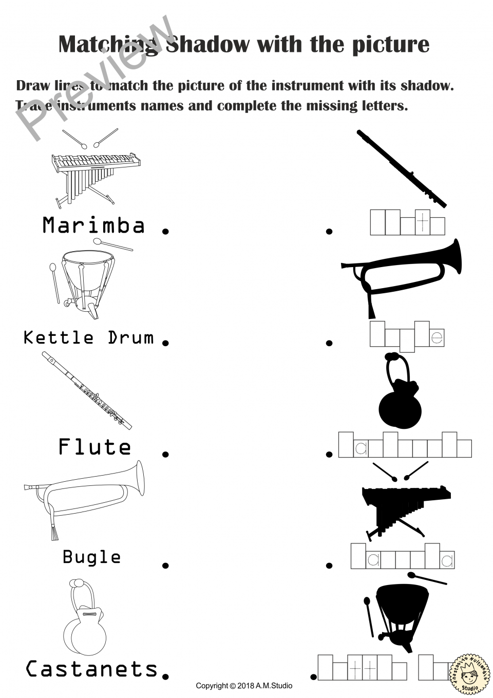 Musical Instruments Shadow Matching Worksheets B Amp W 10