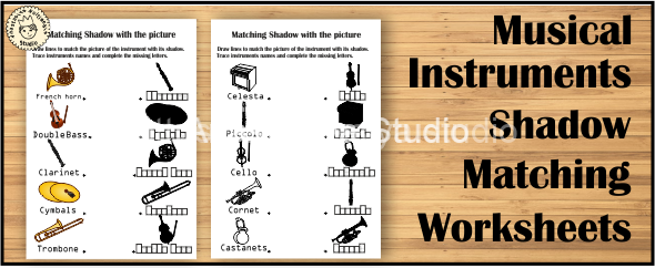 Musical Instruments Shadow Matching Worksheets