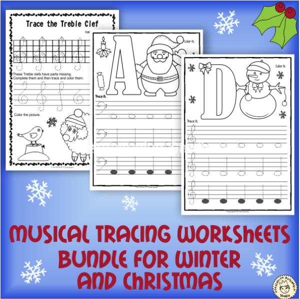 Musical Tracing Worksheets bundle for winter and christmas
