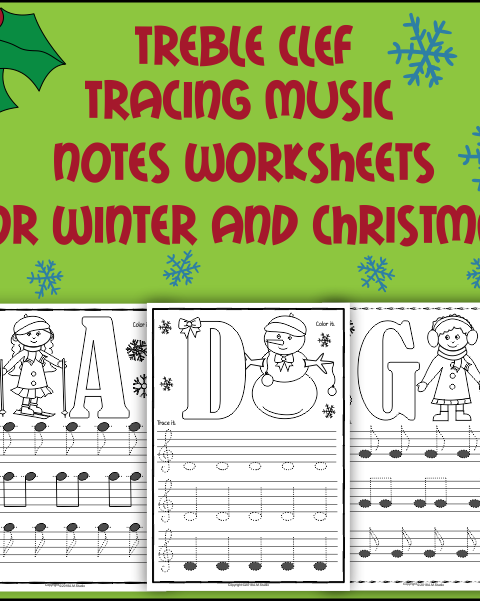 A set of 26 music worksheets {Winter and Christmas themed} is created to help your students learn to trace, copy, color and draw notes on the staff {Treble pitch}. {C first – A second octaves}.