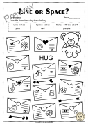 Valentine`s Day Treble Clef Note Reading Worksheets