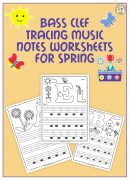 Bass Clef Tracing Music Notes Worksheets for Spring