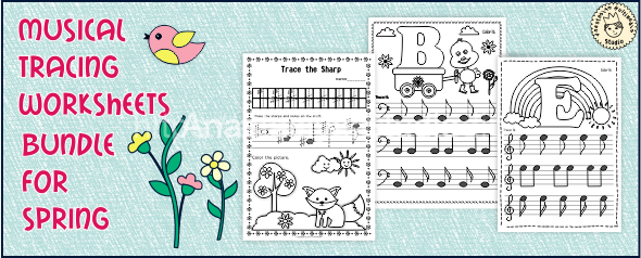 Musical Tracing Worksheets bundle for Spring