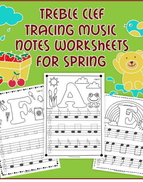 A set of 26 music worksheets {Spring themed} is created to help your students learn to trace, copy, color and draw notes on the staff {Treble pitch}. {C first – A second octaves}.
