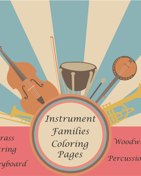 This resource contains four versions of musical instrument families coloring pages (20 .pdf pages in total):
