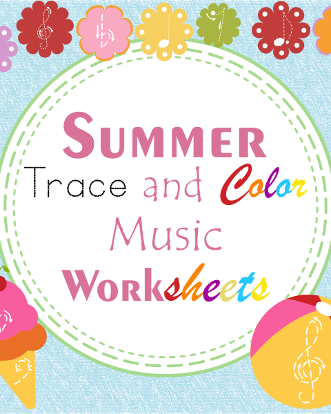 This set contains 15 summer themed trace and color music worksheets in three different formats (45 .pdf pages in total):