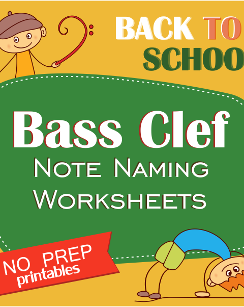 This set of 10 Music worksheets Back to School themed is designed to help your students practice identifying Bass pitch.