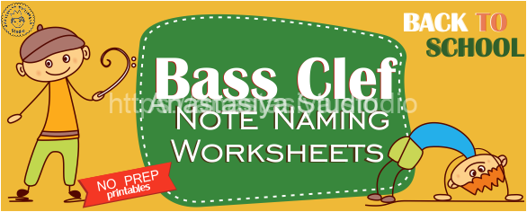 Back to School Bass Clef Note Naming Worksheets