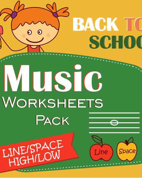 This set of 20 Back to School themed Music worksheets is designed to help your students practice identifying whether a pitch is on a line or in a space and practice high/low pitches.