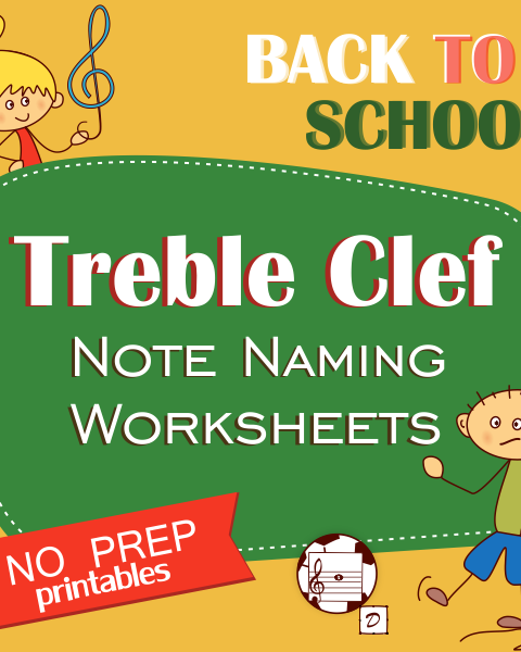 This set of 10 Music worksheets Back to School themed is designed to help your students practice identifying Treble pitch.