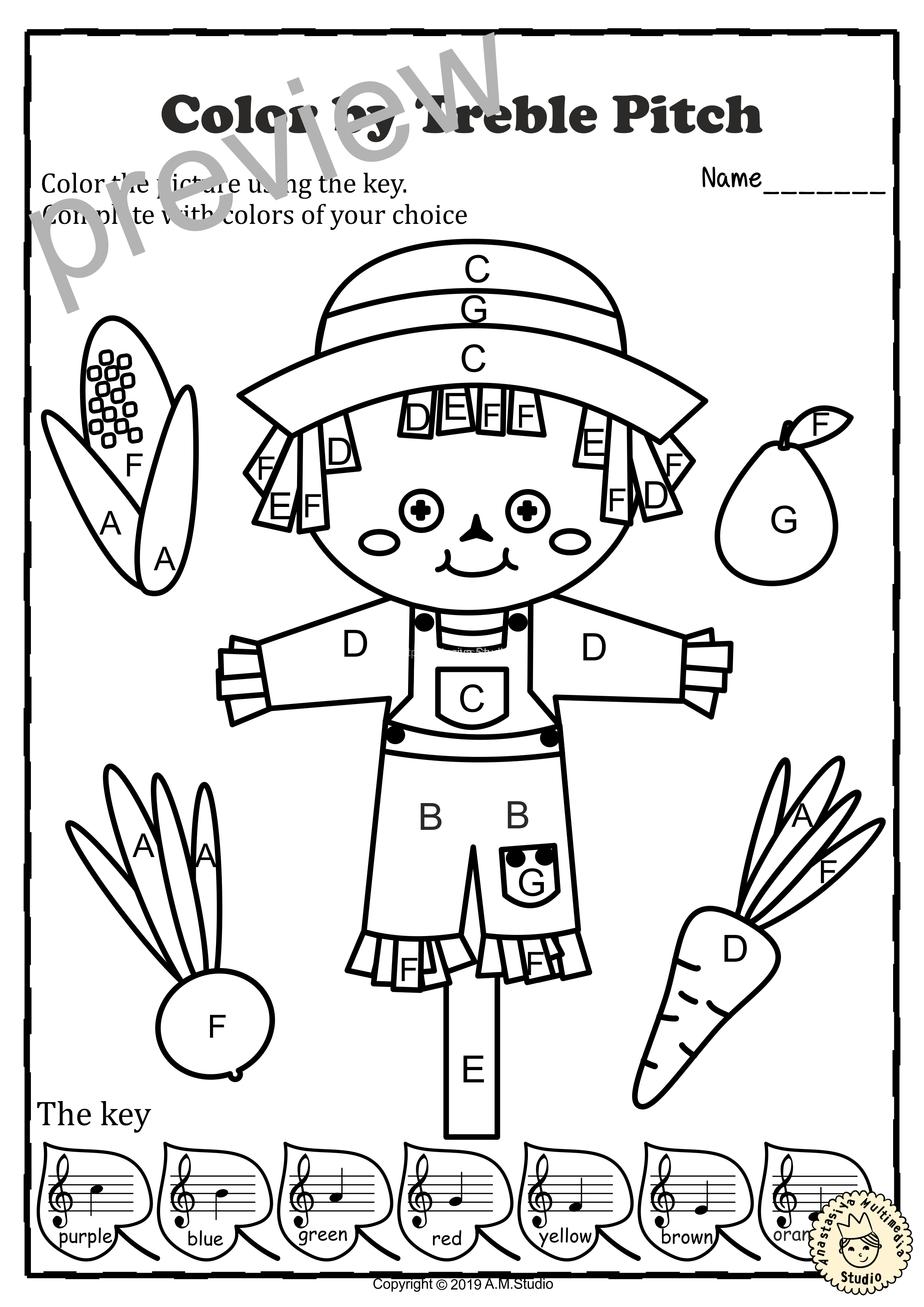 Musical Coloring Pages for Fall {Color by Treble Pitch